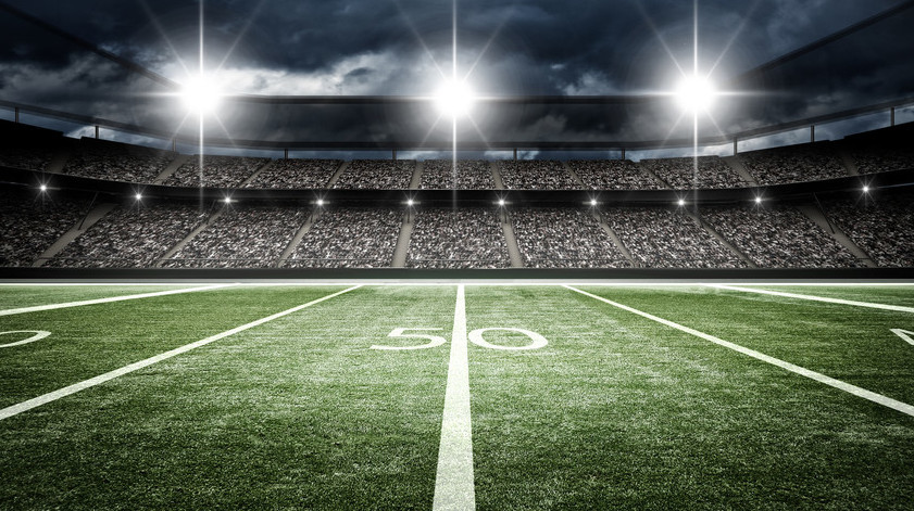 football stadium at the 50 yard line